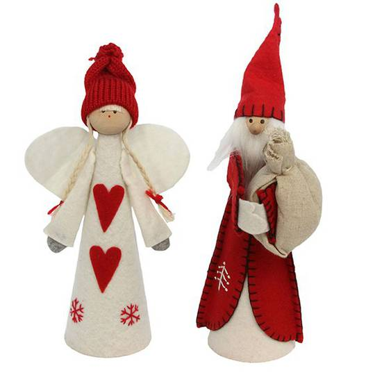 Scandinavian Felt Angel or Santa Cone Tree Topper 25cm