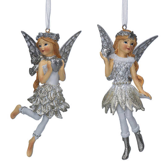 Resin White Silver Fairy Child 12cm
