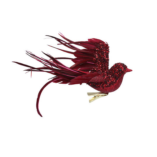 BirdClip Burgundy Glitter Feather Flying 22cm