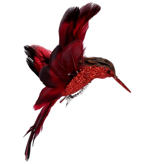 BirdClip Red Feather HummingBird 10cm