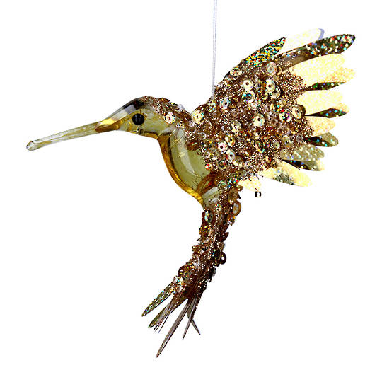 Bling Gold Flying HummingBird 15cm