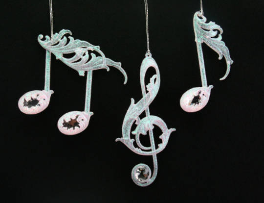 Acrylic Silvery Pink Musical Note 15cm