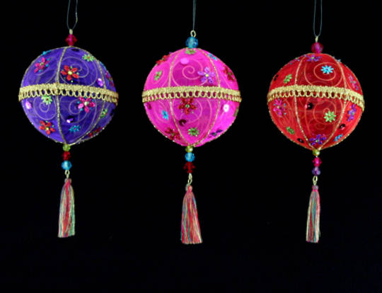 Fabric Hanging Tassel Ball 16cm