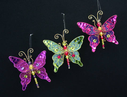 Wire and Sheer Fabric Butterfly 7cm Each