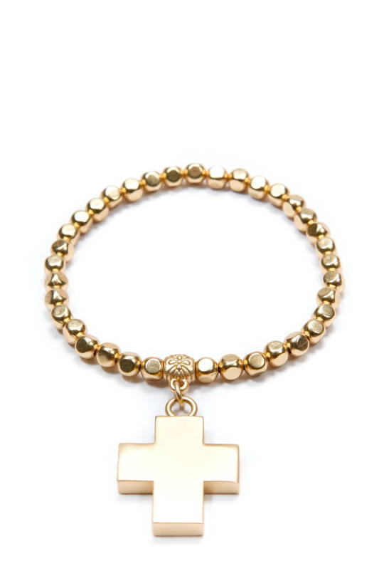Bracelet, Gold Beads with Gold Cross Charm