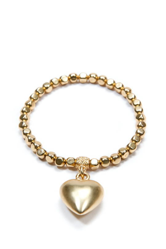 Bracelet, Gold Beads with Gold Heart Charm