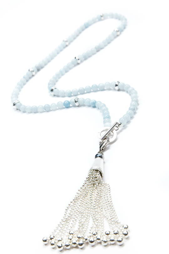 Necklace, Ice Blue Jade with Silver Spacers & Tassel
