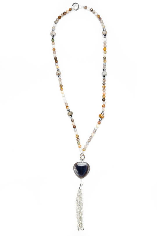 Necklace, Natural Coloured Agate with Heart and Tassel