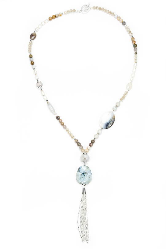 Necklace, Natural Agate of Various Sizes and Tassel