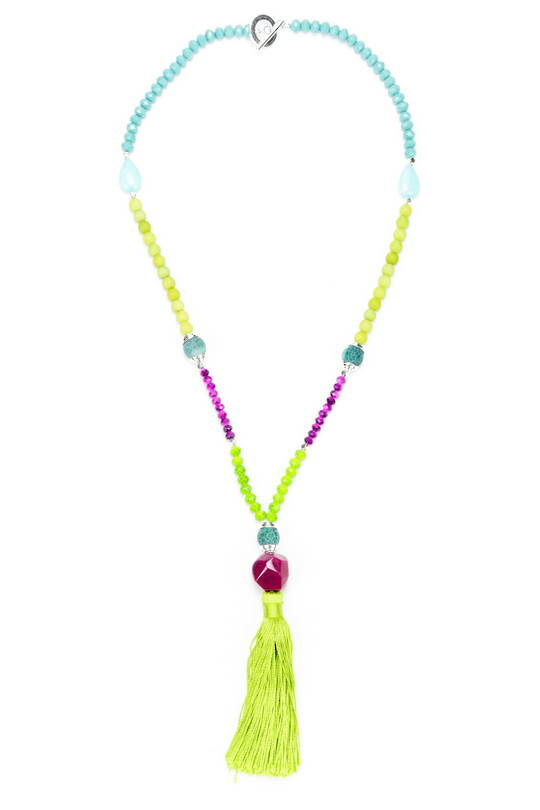 Necklace, Vibrant Coloured Jade with Tassel