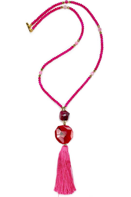 Necklace, Hot Pink Dyed Quartz with Tassel
