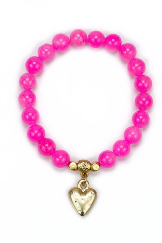 Bracelet, Hot Pink Dyed Jade with Speckled Heart
