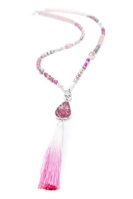 Necklace, Pink Agate, Crystal and Rock Crystal with Charm