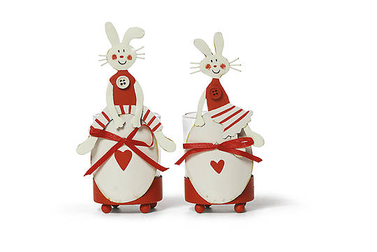 Tin Bunny TeaLight Holder 8cm, each