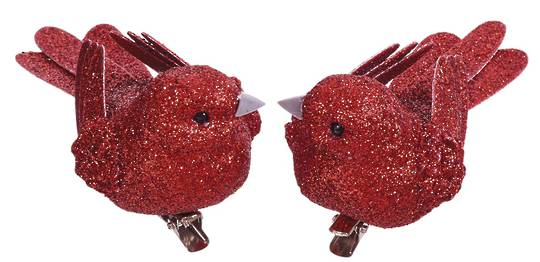 BirdClip Red Glitter 10cm