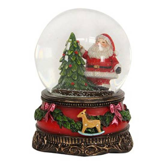 SnowGlobe Vintage Santa with Tree, Rocking Horse on Base