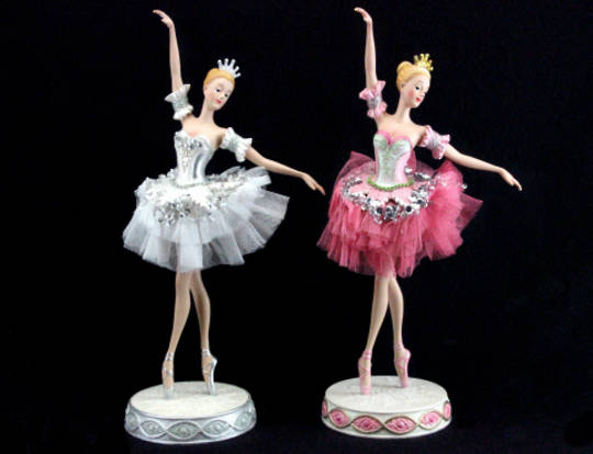 Resin and Fabric Ballerina in Pink or White Iridescent Tutu