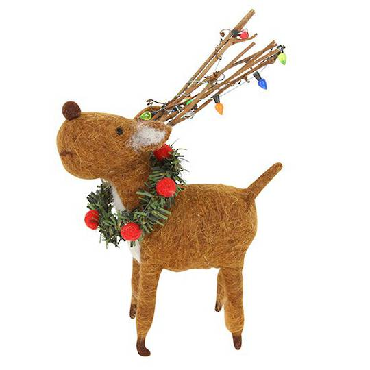 Eco Wool Standing Reindeer with Wreath Collar