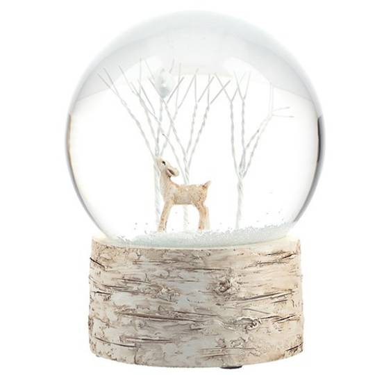 SnowGlobe Deer with White Tree, Birch Tree Base 15cm