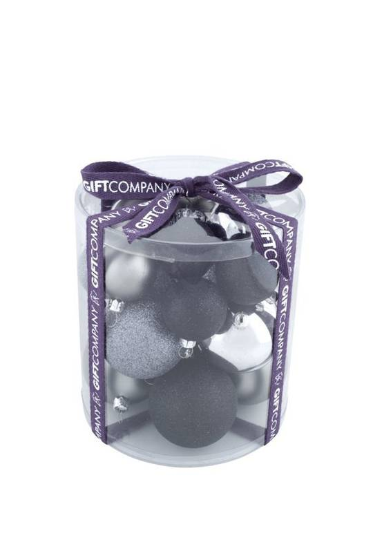 Shiny and Glitter Plastic Baubles Black and Silver, Tub of 21
