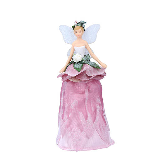 Mini Resin Fabric Flower Fairy Tree Topper 18cm