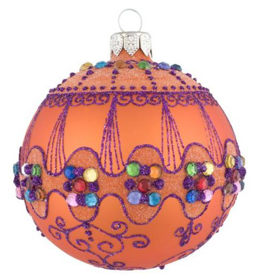 Glass Ball, Orange with Gems and Lace Detail