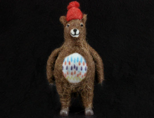 Felt / Wool Standing Xmas Bear w/Red Hat