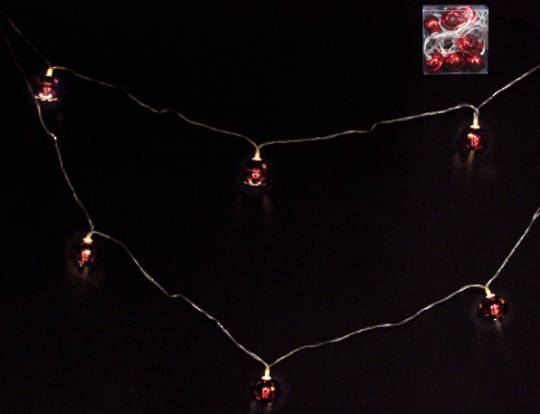 Red Metal Jingle Bells 10 LED Lights 1.8 mtr