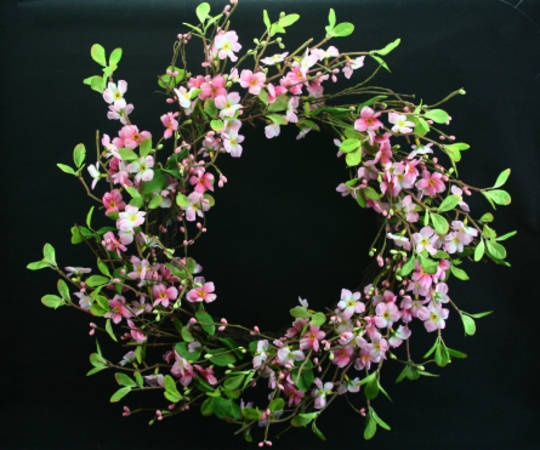 Pink Blossom Wreath 30cm
