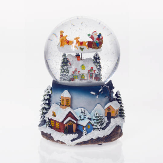 Musical LED SnowGlobe, Santa Sleigh Flying Over LakeHouse SOLD OUT