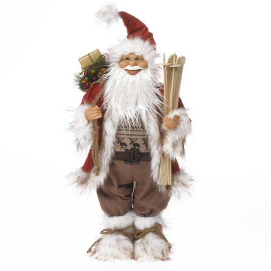 Santa Red/White/Brown Scandinavian w/Wooden Skis & Poles, LED Lights 62cm