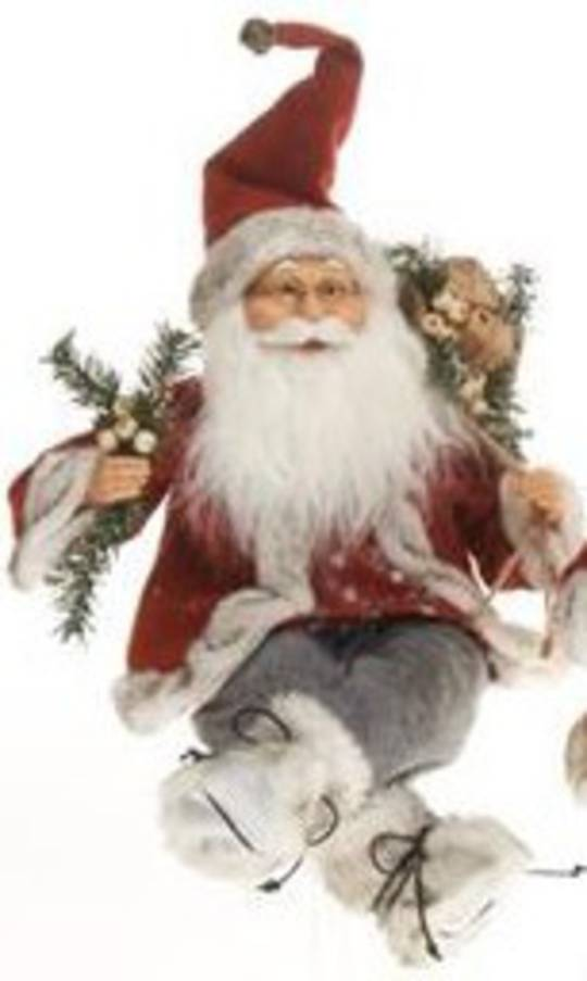 Sitting Santa 30cm Red Coat, Grey Trousers & Sack
