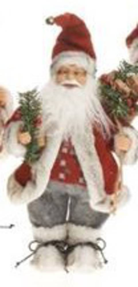 Santa 32cm Red Coat Grey Trousers Checked Jumper