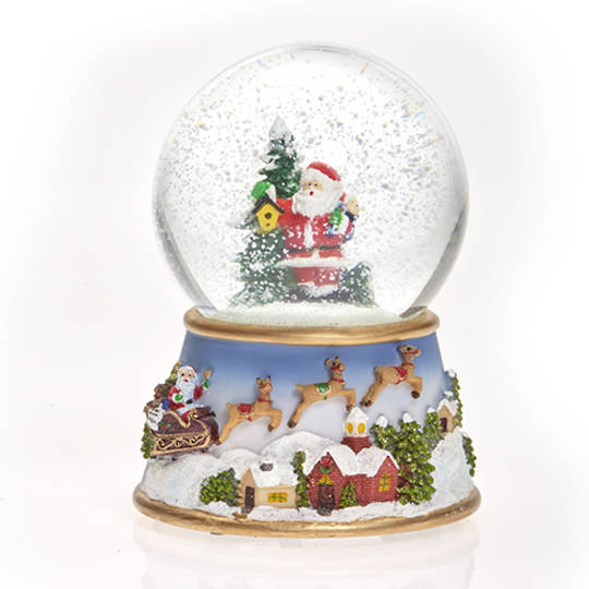 Musical LED SnowGlobe, Santa with Tree & Birdhouse