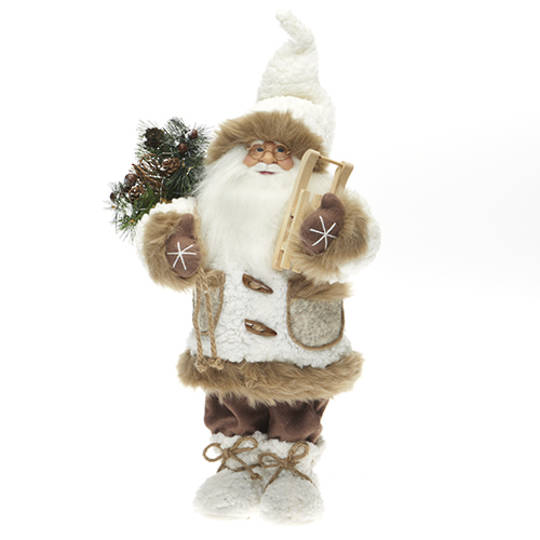 Santa, White Coat with Tan Fur Trim
