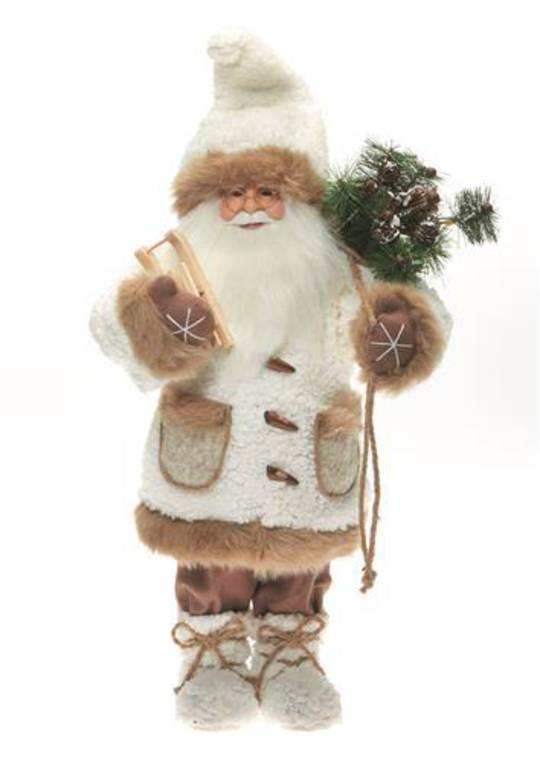Santa Cream Coat 32cm with Caramel Fur Trim LED Lights 3x AA Batt.