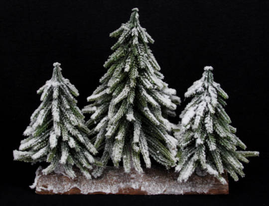 Triple Snowy Fir Tree on Log Orn. SOLD OUT