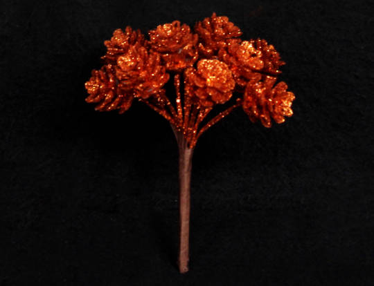 Copper Glitter Pine Cone Pick