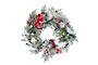 Snowy Fir Wreath with Red and White Flowers