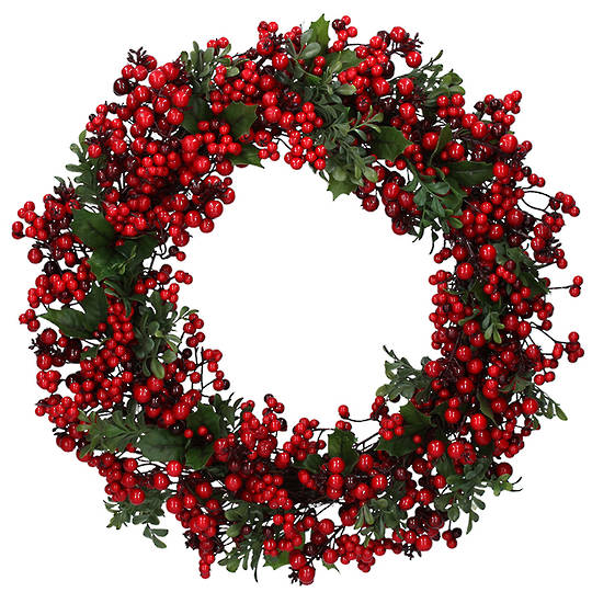 TwoTone Red Berries Wreath 55cm