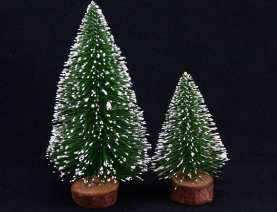 Mini Frosted Pine Tree Set of 2 12/10cm