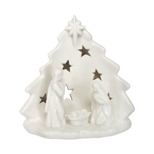 White Ceramic Nativity CandleHolder SOLD OUT
