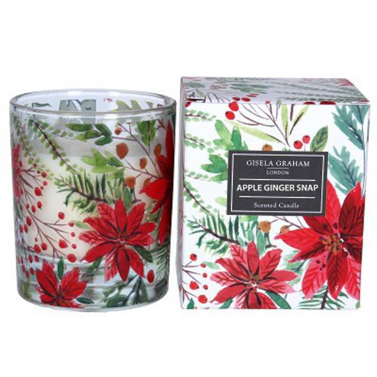 Poinsettia Pattern Candle in Jar, Large