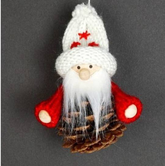 Hanging Knited Red Jumper, White Hat, Pinecone Santa