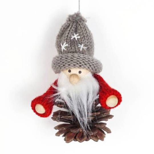 Hanging Knited Red Jumper, Grey Hat, Pinecone Santa