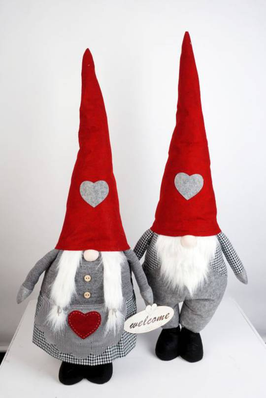 Plush Standing Gnome Black & White Check 85cm