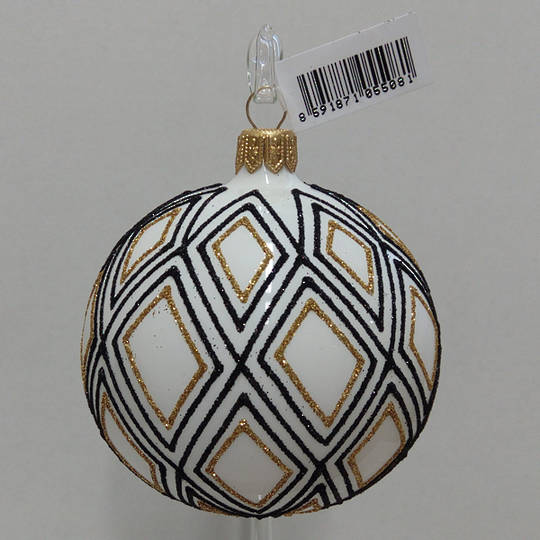 Glass Ball White with Black and Gold Diamond Decor 8cm