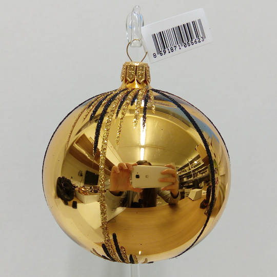 Glass Ball Gold with Gold & Black Stripes and Lines 8cm