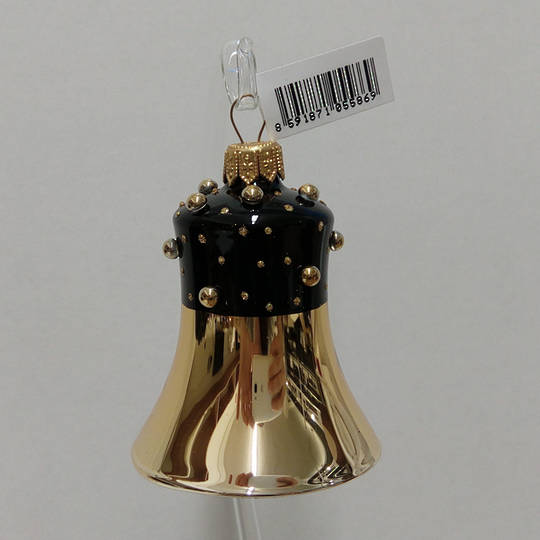 Glass Bell Gold with Black Decor and Stones 8cm