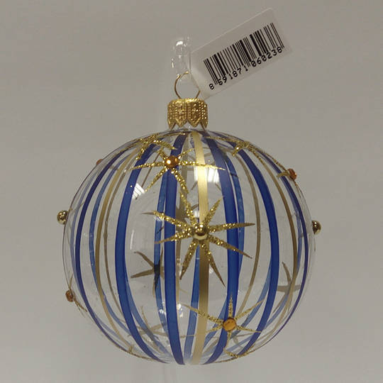 Glass Ball Clear with Blue and Matt Gold Stripes and Stars 8cm